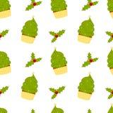 Bigné dell'albero di Natale del fumetto con l'illustrazione senza cuciture del modello del vischio Fotografia Stock Libera da Diritti
