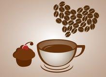 Bigné di amore del caffè Fotografia Stock Libera da Diritti