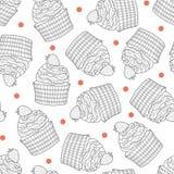 Bigné e punti rossi casuali su fondo bianco Fotografie Stock