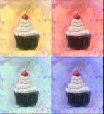 Bigné quattro con vaniglia che glassa ciliegia su pittura a olio superiore Fotografia Stock
