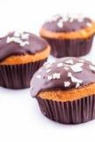 Bigné tre con il primo piano del cioccolato Immagini Stock Libere da Diritti