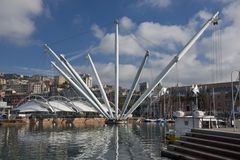 The Bigo in Ancient Harbour of Genoa Royalty Free Stock Photos