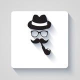 Bigode com chapéu, tubulação de fumo e ícone dos vidros Fotos de Stock Royalty Free