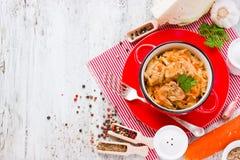 Bigos, традиционное блюдо польской кухни от кислой и свежей капусты, мяса Стоковые Фотографии RF