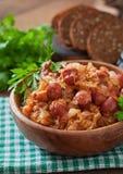 Bigos com salsicha fumado e bacon Imagem de Stock Royalty Free