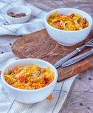 Bigos - stewed cabbage with carrots , smoked sausages and mushrooms, traditional dish of polish cuisine.  stock photography