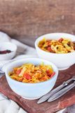 Bigos - stewed cabbage with carrots , smoked sausages and mushrooms, traditional dish of polish cuisine.  stock image