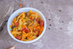 Bigos - stewed cabbage with carrots , smoked sausages and mushrooms, traditional dish of polish cuisine.  stock photo