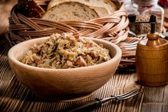 Bigos - stewed cabbage with meat,dried mushrooms and smoked saus Royalty Free Stock Photos