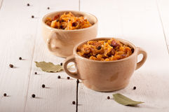 Bigos. The traditional Polish dish. Stock Photos