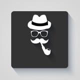 Bigote con el sombrero, el tubo que fuma y el icono de los vidrios imágenes de archivo libres de regalías