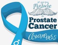 Bigote dibujado mano con Blue Ribbon para la campaña del cáncer de próstata, ejemplo del vector Fotos de archivo libres de regalías