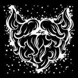 Bigote y barba del inconformista en la línea estilo del arte Imagenes de archivo