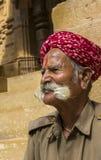 Bigotes magníficos de un viejo hombre de Rajasthani en Jaisalmer para Imagenes de archivo