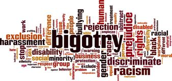 Bigotry word cloud. Concept. Vector illustration royalty free illustration