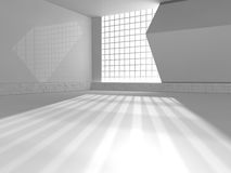 Bigt white room and big window 3d rendering Stock Photography