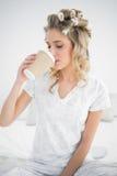 Bigudíes de pelo que llevan bastante rubios pacíficos que beben el café Fotos de archivo