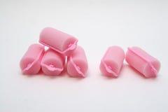 Bigudíes de pelo rosados de la espuma foto de archivo libre de regalías