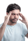 Bihålan smärtar, bihålatryck, bihåleinflammation Ledsen man som rymmer hans huvud royaltyfri fotografi