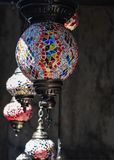 Traditional Ottoman style mosaic lamps for sale as souvenirs in a local bazaar stock images