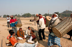 BIHAR, INDIA: Band of the elderly drummers makes religious performance for the dead souls Royalty Free Stock Image