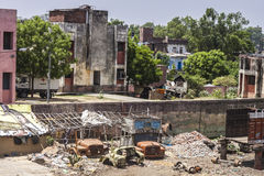 BIHAR, INDIA. JUNE 10, 2009: Village in ruins near Son Nagar railway station on JUNE 10, 2009 in Royalty Free Stock Photography