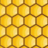 Bihonungskaka som är gul, sexhörningar textur, bakgrundsvektor vektor illustrationer