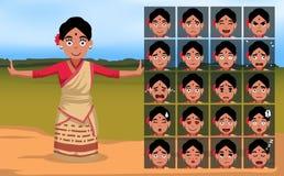 Bihu kobiety kreskówki Indiańska emocja stawia czoło wektor Illustration-01 ilustracji