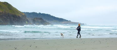 BiIG RIVER STATE BEACH, MENDOCINO, CALIFORNIA, USA - JUNE 8. Wom Royalty Free Stock Photo