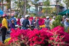 Bij bloemmarkt, Vietnam Stock Foto's