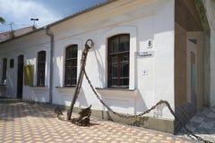 Bij de ingang aan het herdenkingsmuseum A S Groen Feodosiya stock afbeeldingen