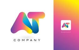 BIJ de Mooie Kleuren van Logo Letter With Rainbow Vibrant Kleurrijk t Royalty-vrije Stock Afbeelding