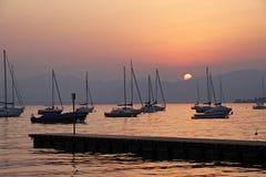 Bij de promenade van Bardolino, Meer Garda in Italië stock foto