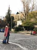 Bij de uitloper van de Akropolis in Athene, Griekenland stock afbeeldingen