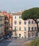 Bij de voet van Capitol Hill is dell 'Ara Coeli Square Het wordt gevestigd dichtbij de Basiliek van Santa Maria in Aracoeli daar stock afbeelding