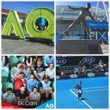 Bij het Australian Open, 2017 stock foto's
