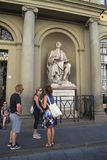 Bij het monument aan de architect Brunelleschi, Florence royalty-vrije stock foto's