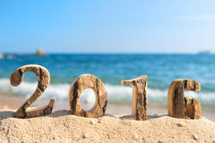 2016 bij het strand Stock Foto's