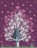 Bij liefdekatten op een bloeiende boom Stock Fotografie