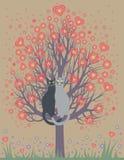 Bij liefdekatten op een bloeiende boom Stock Afbeelding