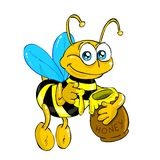Bij met (geïsoleerdep) honing Stock Afbeeldingen