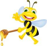 Bij met honing Royalty-vrije Stock Afbeelding
