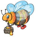 Bij met honing Stock Foto