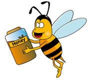 Bij met honingspot Royalty-vrije Stock Foto