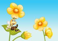 Bij op een bloem stock illustratie