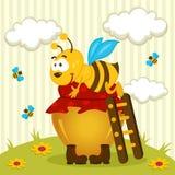 Bij op een pot van honing Royalty-vrije Stock Afbeeldingen