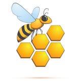 Bij op honeycells. Vectorillustratie Royalty-vrije Stock Afbeelding