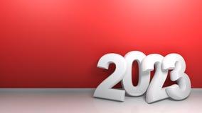 2023 bij rode muur - het 3D teruggeven stock illustratie