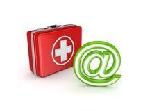 BIJ symbool en medische koffer. Stock Foto
