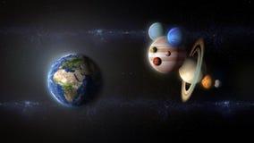 Bij van planeten die naar aarde vliegen stock illustratie